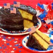 Stock Photo: Chocolate Frosted Cake in Patriotic Setting