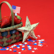 Patriotic Basket with Strawberries — Stock Photo