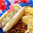 Hot dog dressed for the fourth of July - Stock Photo