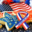 Cookies, American Flag, God Bless USA Ribbon - Stock Photo