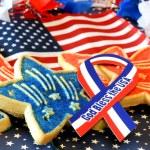 クッキーは、アメリカの国旗、ゴッドブレス アメリカ リボン — ストック写真