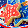 Star shaped patriotic cookies, close up - Stock Photo