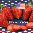 Strawberries on Patiotic Plate with America — Stock Photo #5225370