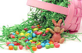 Easter Basket Tipped Over Spilling Candy — Stock Photo