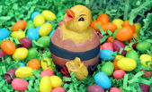 An Easter Chick Sitting in Jellybeans and Grass — Stock Photo