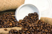 Coffee beans, burlap and a white cup — Stock Photo