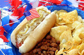 Hot dog dressed for the fourth of July — Stock Photo
