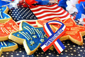 Cookies, American Flag, God Bless USA Ribbon — Stock Photo