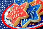 Star shaped patriotic cookies, close up — Foto Stock