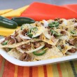 Mexican Sausage, Bean and Cheese Nachos - Stok fotoğraf