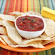 Salsa and Tortilla Chips - Stock Photo