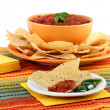 Tortilla chips and salsa with copy space. - Stock Photo