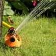 Irrigation sprinkler watering grass — Stock Photo