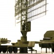 Military mobile radar station against the blue sky, Russia — Stock Photo