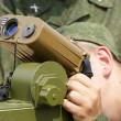 Stock Photo: Military is looking into laser range finder, 2010, Russia