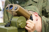 The military is looking into a laser range finder, 2010, Russia — Stock Photo