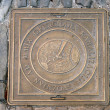 Cover sewer manhole in the street. City artists Groznjan (Grisignana), Croa — Stock Photo