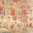 Panoramic image of the medieval frescoes on religious subjects in the Basil — Stock Photo