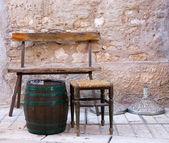 Small sidewalk cafes, old town of Porec, Istria, Croatia — Stock Photo