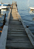 The wooden pier for boats and yachts — Stock Photo