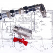 Plumbing parts on the drawing, closeup — Stock Photo