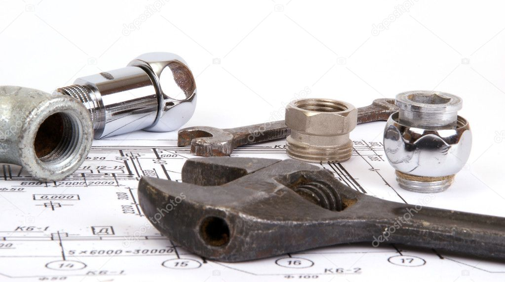 Plumbing parts and tools for drawing, closeup — Stock Photo #5330294