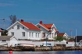 White Wooden Houses in Lyngor — Stock Photo