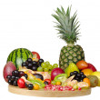 Exotic Fruits on a Wooden Board (Isolated) — Stock Photo