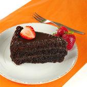 Chocolate Cake with Strawberries — Stock Photo