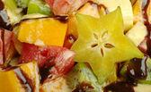 Fruit Salad with Chocolate Sauce (Close-up) — Stock Photo