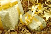 Altın armağan üstünde yosun — Stok fotoğraf