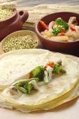 Vegetables on Pancakes — Stock Photo