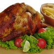 Roast Chicken with Salad and Fries - Stock Photo