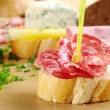 Baguette and Salami — Stock Photo