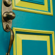 Turquoise Door with Doorknob and Handle — Stock Photo