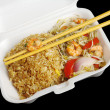 Fried Rice with Prawns and Chopsticks — Stock Photo