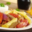"Peruvian Dish Called ""Lomo Saltado"" — Stock Photo"