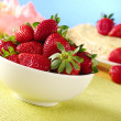 Royalty-Free Stock Photo: Fresh Strawberries in White Ceramic Bowl