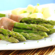 Green Asparagus with Ham and Potatoes — Stock Photo