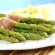 Stock Photo: Green Asparagus with Ham and Potatoes