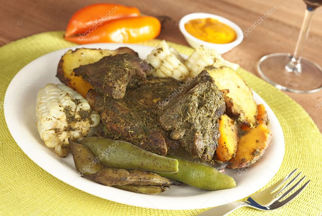 Traditional peruvian food called pachamanca stock photo for Authentic peruvian cuisine