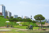 Park and Buildings on the Coast of Lima, Peru — Stock Photo