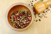 Peppercorns in Mortar — Stock Photo