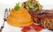 Sweet Potato Puree, Rib, Vegetables — Stock Photo