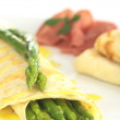 Green Asparagus in Crepes — Stock Photo