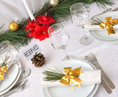 Serving New Year or Christmas table — Stock Photo