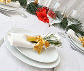 New Year or Christmas table close-up — Stock Photo