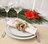 Festively decorated Christmas (New Year) a table for dinner — Stock Photo