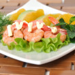 Appetizer of avocado and shrimp with orange — Stock Photo