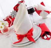Serving holiday table — Stock Photo